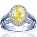 Rare Untreated Oval Cut Yellow Sapphire Prong Set Halo Ring With Round Diamonds (1.77cttw)