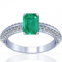 Emerald Prong Set Ring With Round Diamonds (2.35cttw)