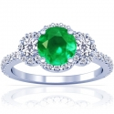 Round Shape Emerald Prong Set Halo Ring With Round Diamonds (1.33cttw)