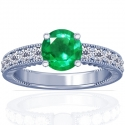 Round Shape Emerald Prong Set Ring With Round Diamonds (1.31cttw)