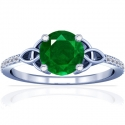 Round Shape Emerald Prong Set Ring With Round Diamonds (0.91cttw)