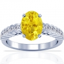 Oval Cut Yellow Sapphire Prong Set Ring With Round Diamonds (2.08cttw)