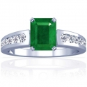 Emerald Prong Set Ring With Round Diamonds (1.59cttw)