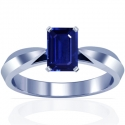 Rare Untreated Emerald Cut Blue Sapphire Solitaire Ring (1.00cts)