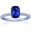 Rare Untreated Cushion Blue Sapphire Prong Set Ring With Round Diamonds (1.68cttw)