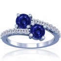Rare Untreated Round Shape Blue Sapphire Prong Set Two Stone Ring With Round Diamonds Approximately (3.17cttw)