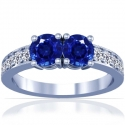 Rare Untreated Round Shape Blue Sapphire Prong Set Two Stone Ring With Round Diamonds Approximately (3.52cttw)