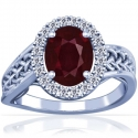 Oval Cut Ruby Prong Set Celtic Ring With Round Diamonds (2.09cttw)