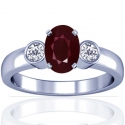 Oval Cut Ruby Prong Set Three Stone Ring With Round Diamonds (1.41cttw)