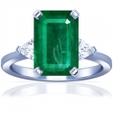 Emerald Prong Set Three Stone Ring With Trillion Cut Diamonds (3.83cttw)