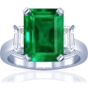 Emerald Prong Set Three Stone Ring With Emerald Cut Diamonds (4.76cttw)
