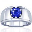 Round Shape Blue Sapphire Prong Set Mens Ring (2.26cts)