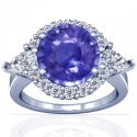 Rare Untreated Round Shape Blue Sapphire Prong Set Halo Ring With Pear Shape And Round Diamonds (6.89cttw)