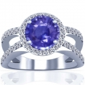 Rare Untreated Round Shape Blue Sapphire Prong Set Halo Ring With Round Diamonds (6.48cttw)