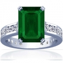 Emerald Prong Set Ring With Round Diamonds (6.89cttw)