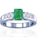 Emerald Prong Set Ring With Princess Cut Diamonds (1.86cttw)