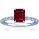 Composite Emerald Cut Ruby Prong Set Ring With Round Diamonds (2.99cttw)