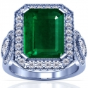 Emerald Prong Set Halo Ring With Pear Shape And Round Diamonds (8.44cttw)