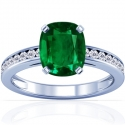 Cushion Emerald Prong Set Ring With Round Diamonds (2.48cttw)