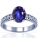 Rare Untreated Oval Cut Blue Sapphire Prong Set Ring With Round Diamonds (3.80cttw)
