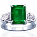 Emerald Prong Set Three Stone Ring With Bullet Cut Diamonds (3.95cttw)