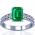 Emerald Prong Set Ring With Round Diamonds (1.94cttw)