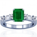 Emerald Prong Set Ring With Straight Baguette Cut And Round Diamonds (1.80cttw)