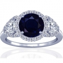 Round Shape Blue Sapphire Prong Set Halo Ring With Trillion Cut And Round Diamonds (1.82cttw)
