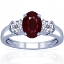 Oval Cut Ruby Prong Set Three Stone Ring With Round Diamonds (1.61cttw)