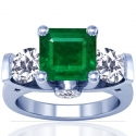 Emerald Prong Set Three Stone Ring With Round And Princess Cut Diamonds (6.76cttw)