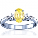 Rare Untreated Oval Cut Yellow Sapphire Prong Set Ring With Marquise Shape And Round Diamonds (1.33cttw)