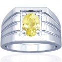 Astrological Men's Rare Untreated Yellow Sapphire Prong Set Ring (1.08cts)