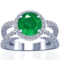 Round Shape Emerald Prong Set Halo Ring With Round Diamonds (1.52cttw)