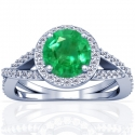 Round Shape Emerald Prong Set Halo Ring With Round Diamonds (0.98cttw)