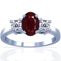 Oval Cut Ruby Prong Set Three Stone Ring With Round Diamonds (1.08cttw)