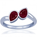 Pear Shape Ruby Two Stone Ring