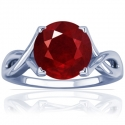 Rare Untreated Round Shape Ruby Solitaire Ring (0.68cts)