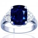 Rare Untreated Cushion Blue Sapphire Prong Set Three Stone Ring With Half Moon Shape Diamonds (11.11cttw)