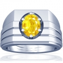 Astrological Men's Yellow Sapphire Prong Set Ring (2.03cts)