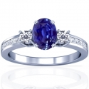 Rare Untreated Oval Cut Blue Sapphire Prong Set Three Stone Ring With Princess Cut And Round Diamonds (3.85cttw)