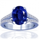 Rare Untreated Oval Cut Blue Sapphire Prong Set Ring With Round Diamonds (3.87cttw)