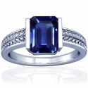 Rare Untreated Emerald Cut Blue Sapphire Solitaire Ring (1.10cts)