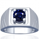 Round Shape Blue Sapphire Prong Set Mens Ring (1.84cts)