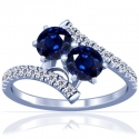 Rare Untreated Round Shape Blue Sapphire Prong Set Two Stone Ring With Round Diamonds Approximately (2.01cttw)