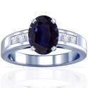 Rare Untreated Oval Cut Blue Sapphire Prong Set Ring With Princess Cut Diamonds (4.12cttw)
