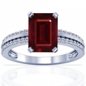 Composite Emerald Cut Ruby Prong Set Ring With Round Diamonds (2.73cttw)