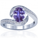 Rare Untreated Oval Cut Purple Sapphire Prong Set Ring With Round Diamonds (2.31cttw)