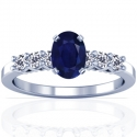 Oval Cut Purple Sapphire Prong Set Ring With Round Diamonds (1.23cttw)