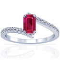 Emerald Cut Ruby Prong Set Ring With Round Diamonds (1.01cttw)