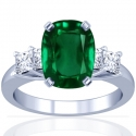 Cushion Emerald Prong Set Ring With Princess Cut Diamonds (1.93cttw)